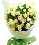 21 premium champagne roses . White bellflower Tang cotton