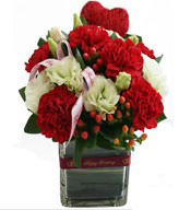 Big red flower carnations . Dragon fruit , Vase Included