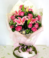 11 Peach roses with A class,3 Lilium